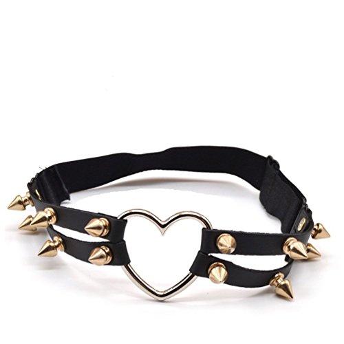 Double Heart Lingerie (Lychee Heart Double Rivet Studded Suspenders Garter Belt Leg Ring Elastic)