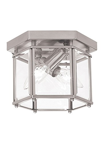 Sea Gull Lighting 7647-962 Bretton Two-Light Flush Mount Ceiling Light with Clear Beveled Glass Panels, Brushed Nickel Finish (Bretton Pendant Lighting)