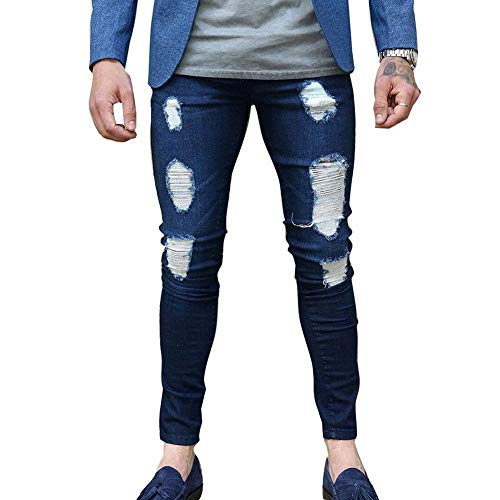 Fit Strappato Dunkelblau Men's Skinny Jeans Pantaloni Moderna Casual Slim Vita Stretch Mid R Destroyed Straight Denim Fashion dgAqwO
