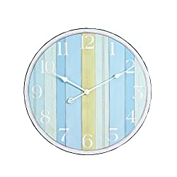 Young's 23.25-Inch Nautical Stripes Wood Wall Clock, Large