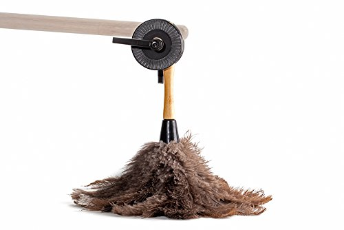 Avian Ostrich Feather Duster , 13.5 inches, Gray and Brown with Pole Adapter