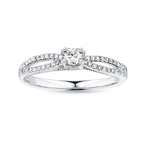 Gold Milgrain Heart - Life More Dazzling 10K White Gold Engagement Ring with Milgrain Heart Side (1/3CTW, I2 Clarity)