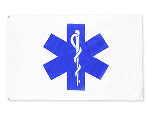 EHT Flags 3x5 Star of Life EMS Flag Made in The USA from SolarMax 200 Denier Nylon