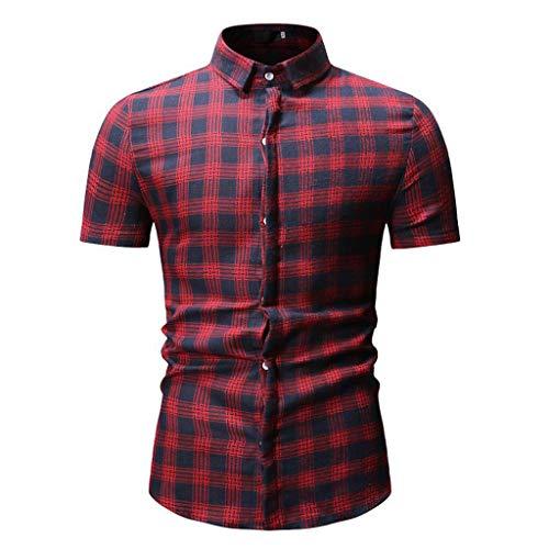 Hivot Men's Short Sleeve Lapel T-Shirt Splicing Lattice Gradient Tops Button Large Size Blouses Tee Shirts Tunic Red