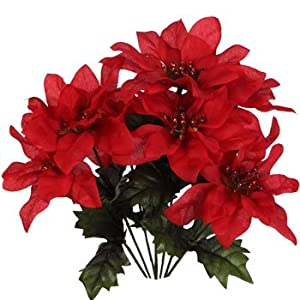 (Pack of 4) Christmas House 7-stem Red Poinsettia Bushes with Glittered Accents, 13″