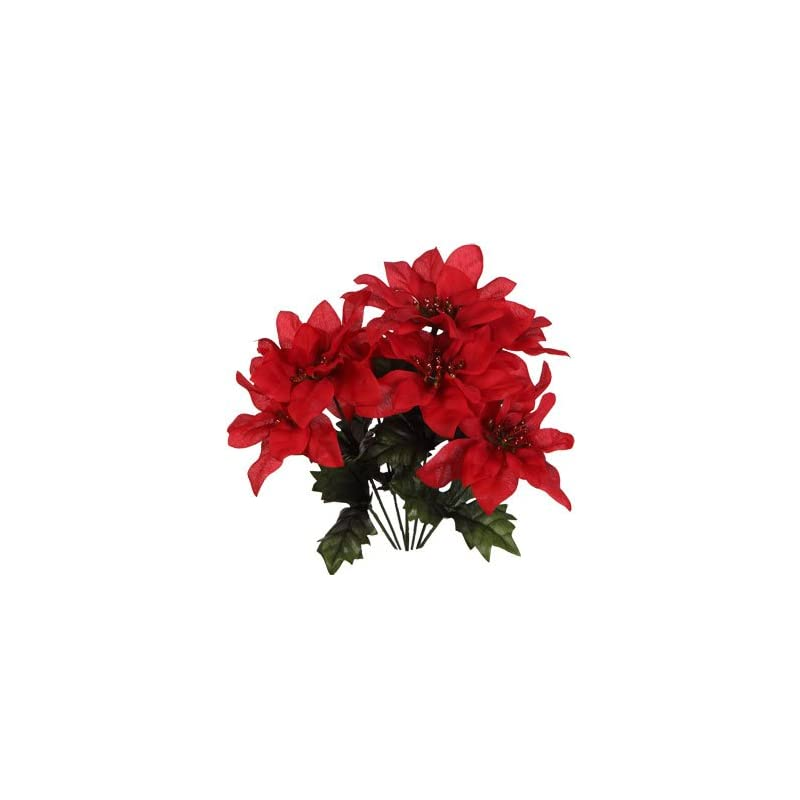 """silk flower arrangements (pack of 4) christmas house 7-stem red poinsettia bushes with glittered accents, 13"""""""