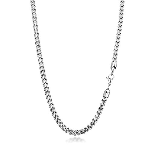 - Kezef Men's Stainless Steel Franco Chain Necklace Foxtail Link 24 inch