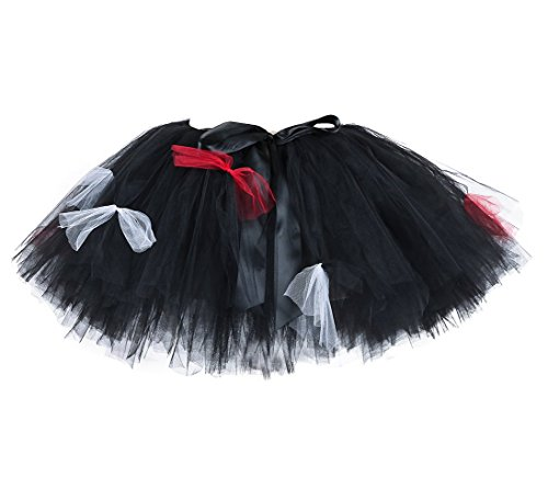 Tutu Dreams Women Black Tutu Skirts Gothic Corpse Bride Costumes (Free Size, Devil)