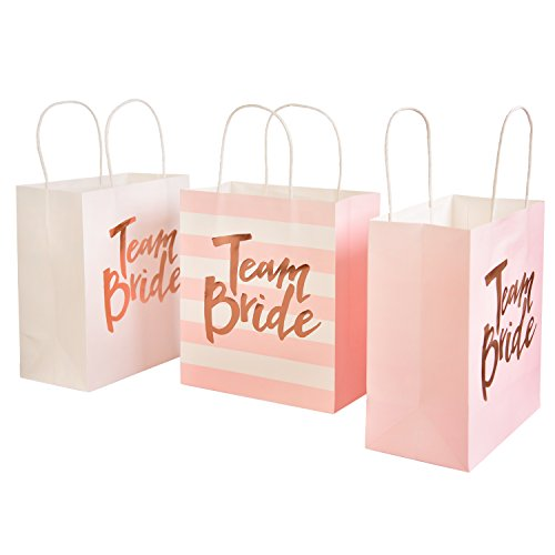 Ling's moment Set of 12 Pink White Mixed Bridal Bachelorette Party Bridesmaid Gift Bags - Rose Gold Foil