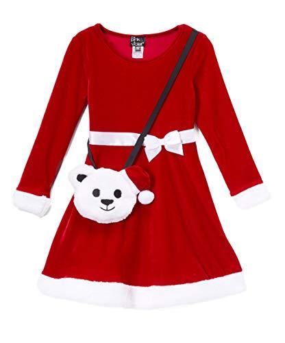 (Pink&Violet Little Girl Christmas Velvet Fit&Flare Red/White Dress Bear Purse)
