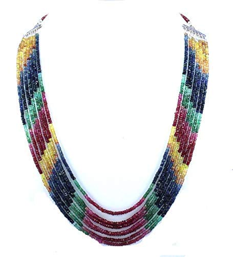 (Natural Emerald,Ruby,Sapphire 7 Strands 3mm Faceted rondelle Beads 23