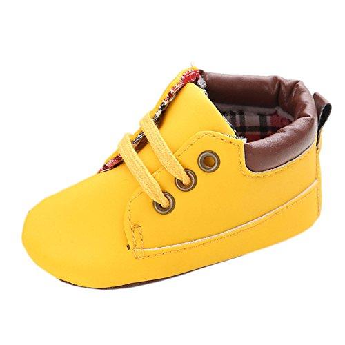 Baby Herbst Beiläufige Hohe Top T-gebunden Suede Krippe Sneakers Boots Gelb