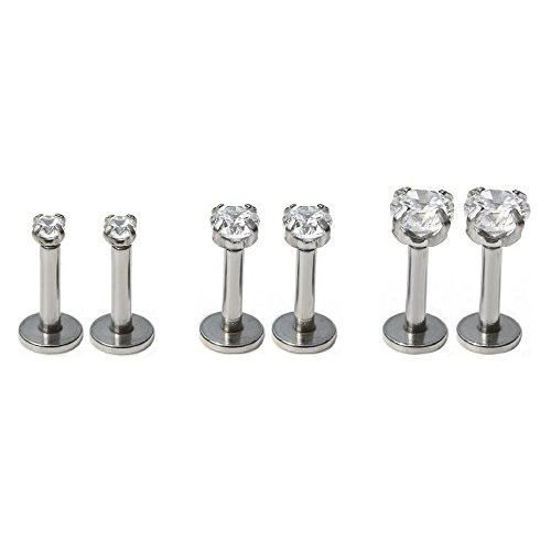 6Pcs 16g 2/3/4mm Cubic Zirconia Ear CartilageTragus Studs Earrings Stainless Steel Lip Piercing Set (Triple Flat)