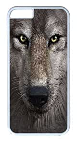 "iPhone 6 Case - Scratch Protection Ultra Slim Fit Hard PolyCarbonate White Plastic Case for Apple iPhone 6 (4.7"") with Pattern: Wolf Face"