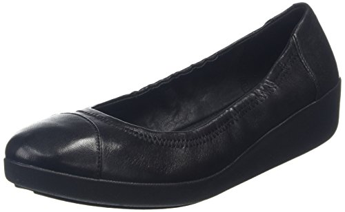 FitFlop Women's F-pop Ballerina Leather, All All Black 5 M US