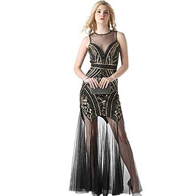 1920s Sequin Gatsby Maxi Long Evening Dress Semi Formal Wedding Dresses for Women