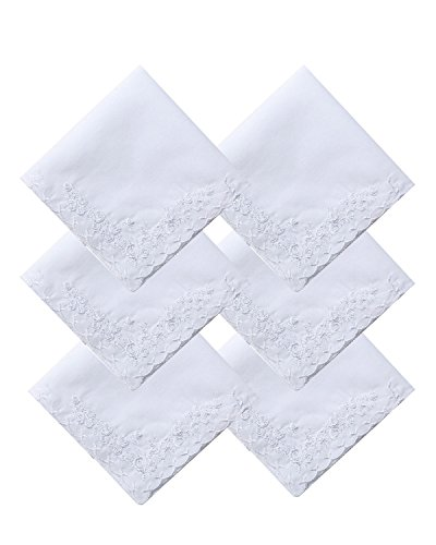 COCOUSM Womens Large Soft White Embroidered Handkerchiefs - 60s Cotton Square ()