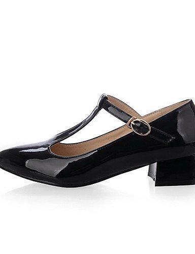 GGX/Damen Patent Leder massiv Schnalle Spitz geschlossen Zehen Low Heels pumps-shoes black-us8 / eu39 / uk6 / cn39