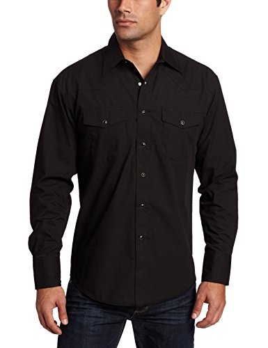 Wrangler Men's Sport Western Snap Shirt,Black,X-Large