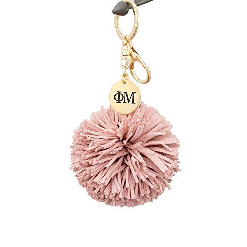 Phi Charm Keychain - A-List Greek Phi Mu Pom Tassel Keychain Sorority Key Chain with Laser Engraved Charm - Color Blush