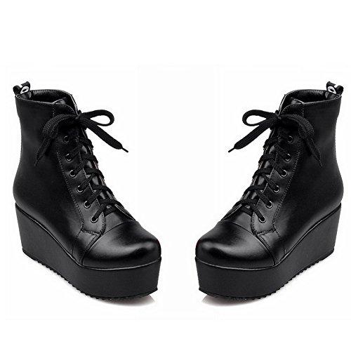 Heels Toe Round Closed Solid Black Top Low Boots WeenFashion Women's PU Kitten R0qwxg0
