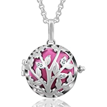 Tree of Life Olive Leaves CZ Harmony Bola Angel Caller Pendant Necklaces for Women, 30'' Long Chain