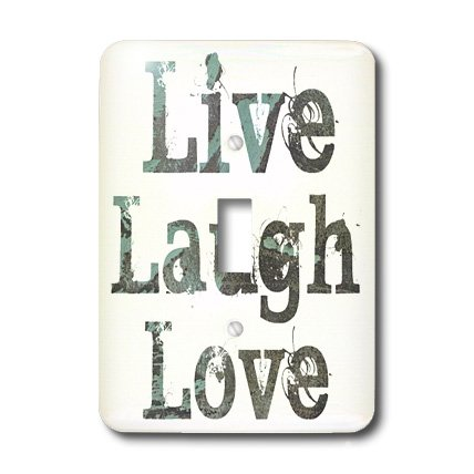 Toggle Light Switch Cover - 3dRose LLC lsp_27987_1 Turquoise Live Laugh Love Abstract Single Toggle Switch