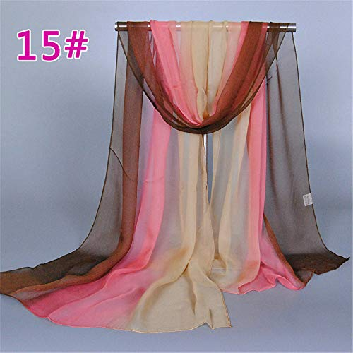 Silk Scarf Fashion Gradient Scarf Four Seasons Wild Scarf Beach Shawl Scarf 15# 160X50Cm ()