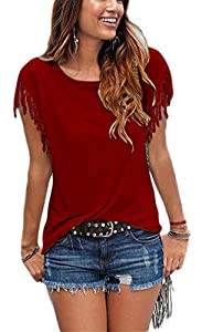 Womens Summer Tassles and Fringes Sleeve T Shirts Round Neck Short Sleeves Casual Cute Blouse Tops for Junior