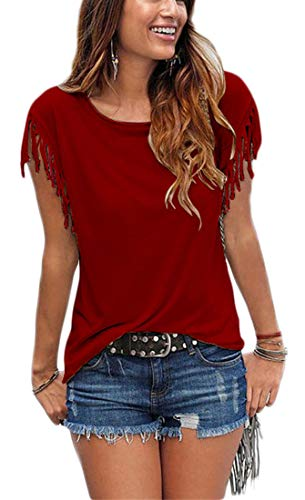 Summer Tassel - Womens Summer Tassel Tees Shirts Crew Neck Short Sleeve Casual Cute Blouse Tops for Junior Wine Red