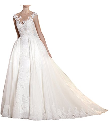 MILANO BRIDE Royal Floral Lace Illusion-Neck Bridal Wedding Dress 2017 Cheap-6-Pure White