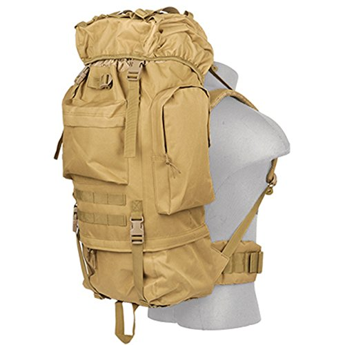Lancer Tactical 600 Denier Polyester Lightweight Fabric Multi-Purpose Ruck Sack Waterproof Outdoor 65 Liter Capacity Aluminum Internal Frame Hiking Backpacking Camping Trekking Day Pack - TAN