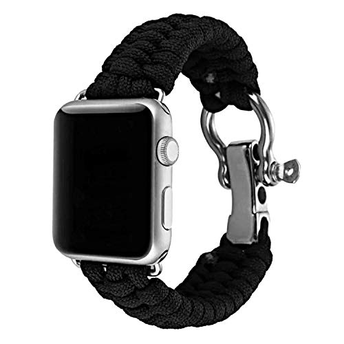 XUANTAI Apple Watch Band 42mm Paracord Replacement Sport Bands with Outdoor Survival Adjustable Stainless Steel Shackle for iWatch Series 4 3 2 Series 1 (Black Color ()