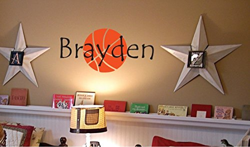 Personalized Monogram Kids Wall Decals - Boys Wall Decal- Name Vinyl Lettering - baby boy nursery wall decal Brayden Basketball