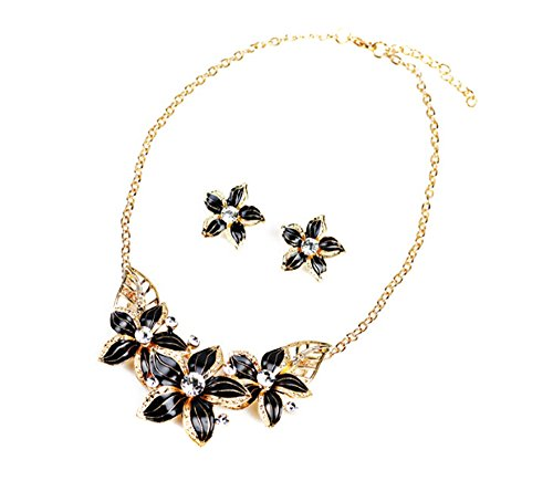 LALANG Black Flower Enameled Rhinestone Necklace Costume Jewelry for Women or Girls Gold Enameled Flower