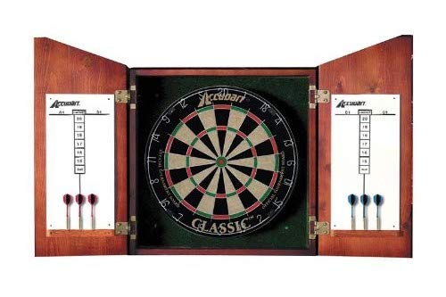 Accudart Union Jack Solid Wood Classic Bristle Dartboard Cabinet Set Includes Dartboard and 6 Brass Darts ()