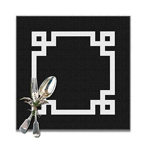 Yuteea Black and White Greek Key Square Table Placemats for Dining Table,Washable Table mats Heat-Resistant(12x12 inch) Set of 6 - Key Vase Greek
