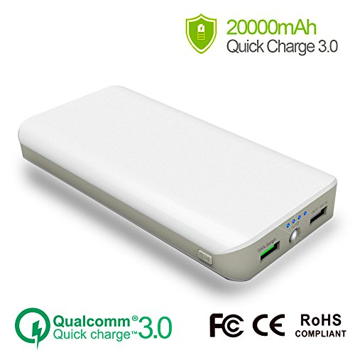 25000mAh Quick Charge QC 3.0 Portable Power Bank Charger, Ultra High Capacity Fast External Battery Pack with Dual USB 4.8A Output Port for iPhone 7 8 Plus, iPad Pro,Sumsung S7 S8 (White)