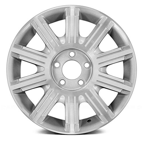 Replacement 17X7 Alloy Wheel 10 Spoke Silver Textured w/a Machined Face Fits Lincoln Town Car