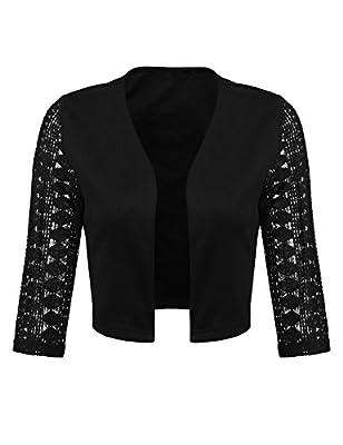Concep Women's Casual Lace Cropped Bolero Shrug 3/4 Sleeve Work Open Blazer Tops