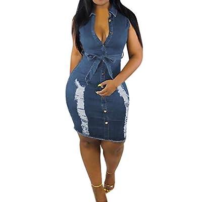 Summer Dresses for Women,Summer Womens Button Down Denim Sexy Dress Ladies Lace Jeans Long Shirt Dress