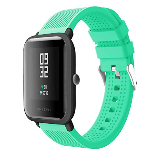 Replacement Strap for Huami Amazfit Bip Youth Watch Band Silicone Soft Wrist Band Bracelet for Xiaomi Huami Smart Watch Accessories Wirstband (Mint Green)