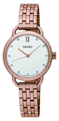 Seiko Women's 26.5mm Rose Gold-Tone Steel Bracelet & Case Hardlex Crystal Quartz White Dial Watch SUR698