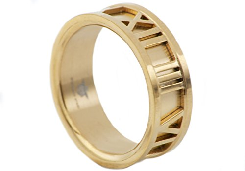 Blackjack Jewelry Mens Gold Plated Stainless Steel Roman Numeral Ring ()