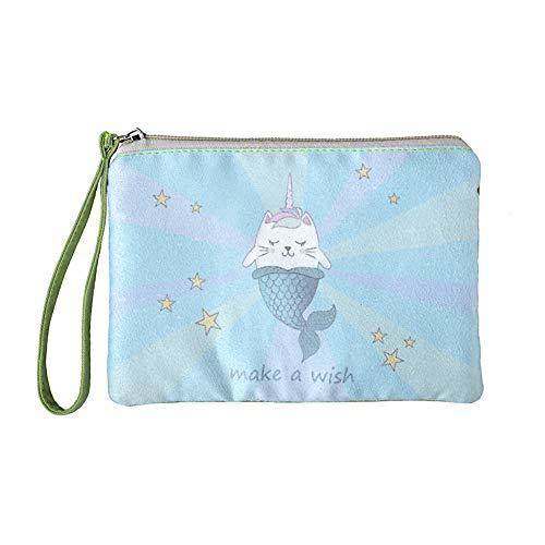 Rantanto Cute Canvas Cash Coin Purse, Make up Bag, Cellphone Bag with Handle (BG0020-1 Magic Cat Mermaid)
