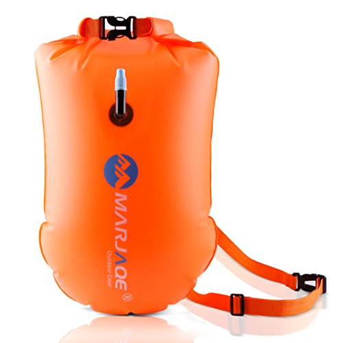 20L Waterproof Dry Bag, Ultralight Swim Buoy and Safety Float for Open Water Triathletes, Kayak, Snorkeling,Surfers, Beach, Swimming, Boating with Adjustable Waist Belt (Orange)