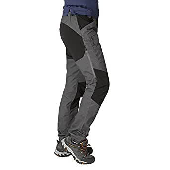 ZOOMHILL Mens Pro Hiking Stretch Pants Cargo Trouser Water-Resistant Tactical Outdoor Working Pants (Dark Grey, S)