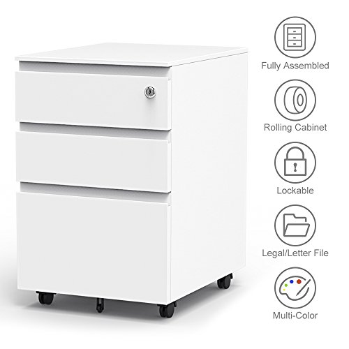 (Yoleo 3-Drawer Filling Cabinet, Metal Vertical File Cabinet with Hanging File Frame for Legal & Letter File Install-Free Anti-tilt Design and Lockable System Office Rolling File Cabinet-White)