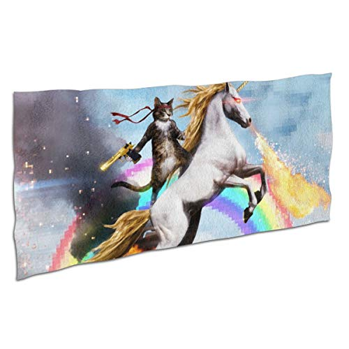 Kjhdgkshdd Cat Riding A Fire-Breathing Unicorn Bath Towel37 x74 Super Absorbent, Soft £¬Close Skin