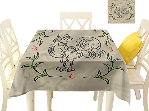 Tabletop Clock Stripe - Davishouse Washable Table Cloth Floral Swirls Rooster Clock Waterproof/Oil-Proof/Spill-Proof Tabletop Protector W63 x L63
